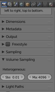 Volume Sampling Settings